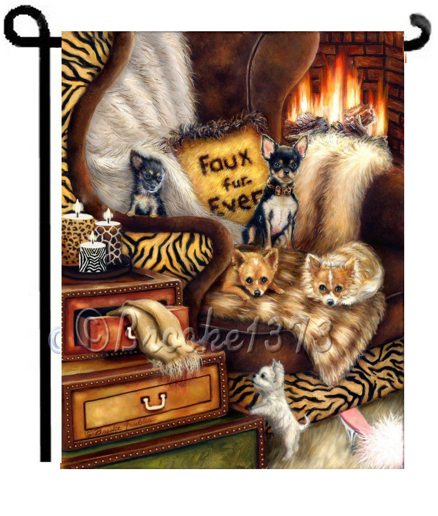5 chihuahuas garden flag with dogs on animal print chair near fireplace, faux fur, candles and puppies resting. 12 x 18