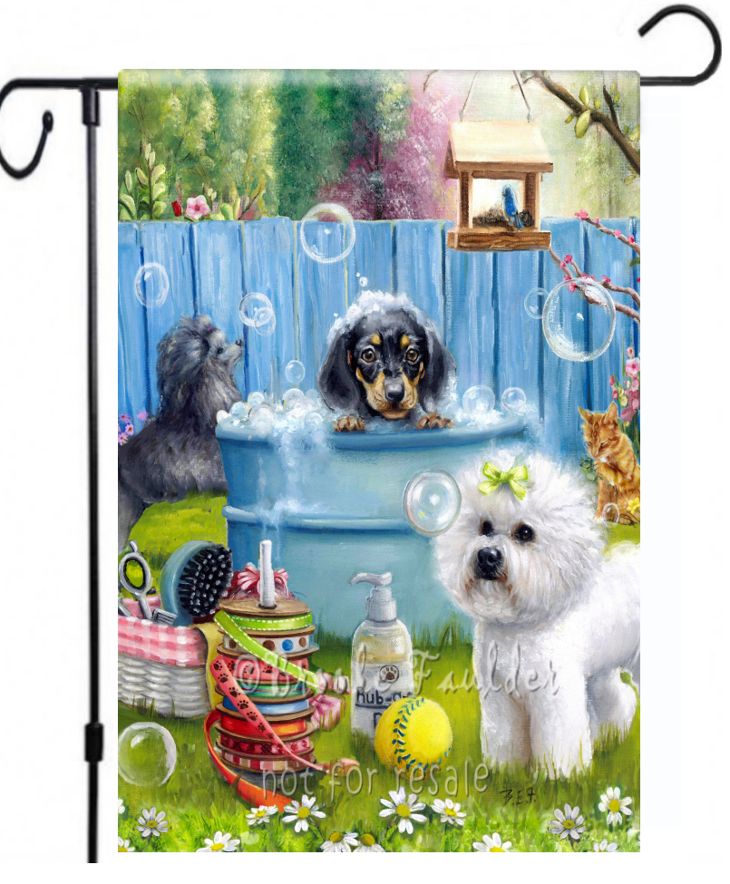 Dog groomer gift garden flag