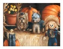 Autumn, painting, print, Yorkshire Terrier, art, Yorkie note cards