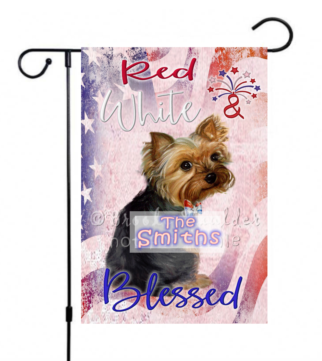 Personalized July 4th flag with Yorkshire terrier