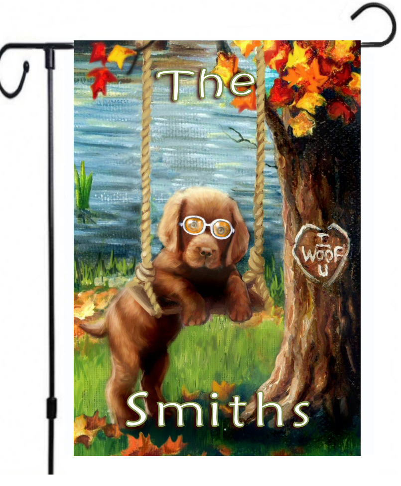 chocolate lab garden flag can be personalized