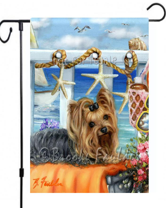 Yorkshire Terrier beach scene dog art with boat