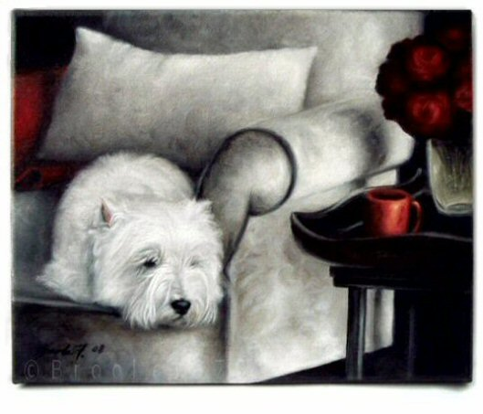 Westie, West Highland Terrier, Painting, art, canvas, Napping