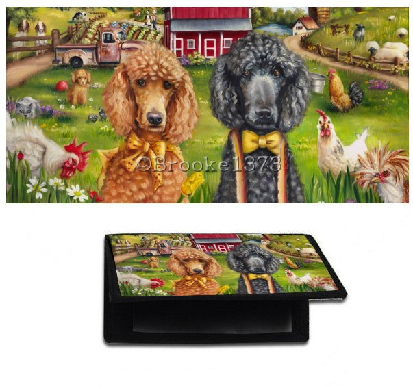 Black and apricot standard poodles on a checkbook cover. Old timey painting featuring the dogs and surrounded my farm scenery.