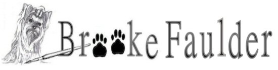 Brooke Faulder, logo, commerical artist, dog art, Yorkie art, garden flags and more!