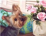 Yorkie, art, painting, dog, roses, art
