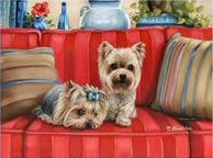 yorkies, painting, art, puppy, yorkshire Terrier