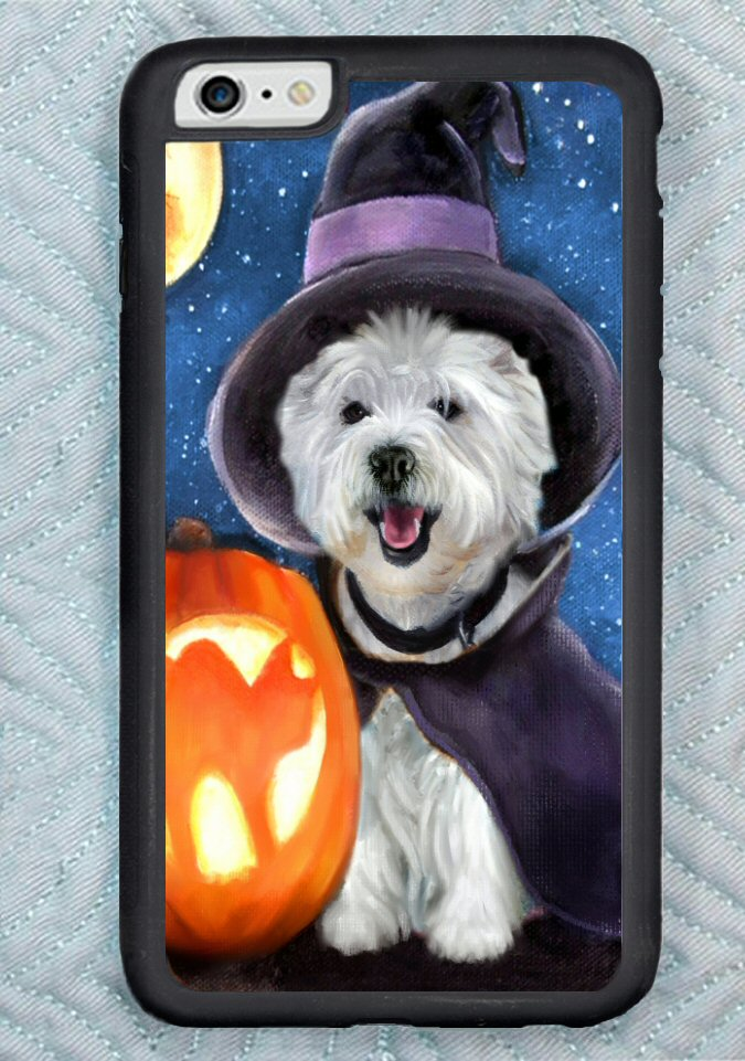 Westie with jackolantern for iphone 6 or iphone 6 plus.