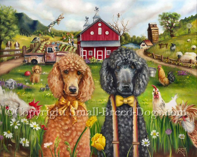 This painting reminds me of american gothic a little with the ma and pa poodle posing for a photo in front of their barn. Too much scenery in this one to name, but the red barn, rusty old truck and fancy chickens are some of the prominent figures in this painting, Just another day in the life. The amish people walking the dirt path in the background is too cute not to notice.