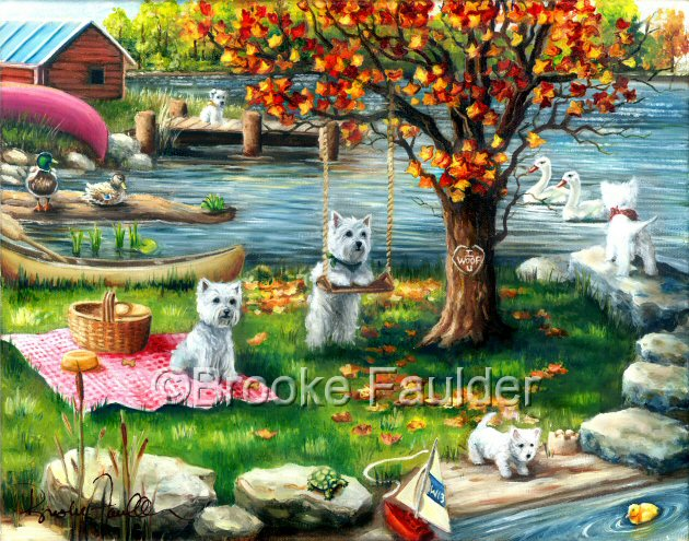 Notice the I WOOF YOU carved into the colorful autumn tree these westies are using for shade on the lake peninsula. The puppies have a mind of their own in this dog paintnig as one watches a late hatched duckling and the other admires the swans. One hangs out on the docks, perhaps ready for another canoe ride.