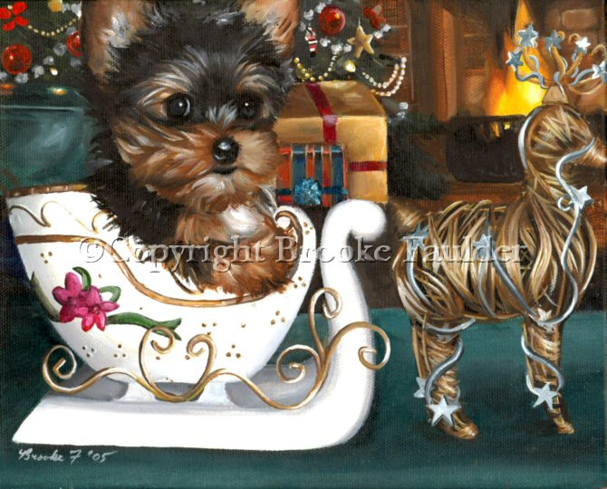 This yorkie puppy seems to be waiting for the wire reindeer statue to pull his sleigh away at any second. Why not? Isn't magic always in the air at Christmas time?