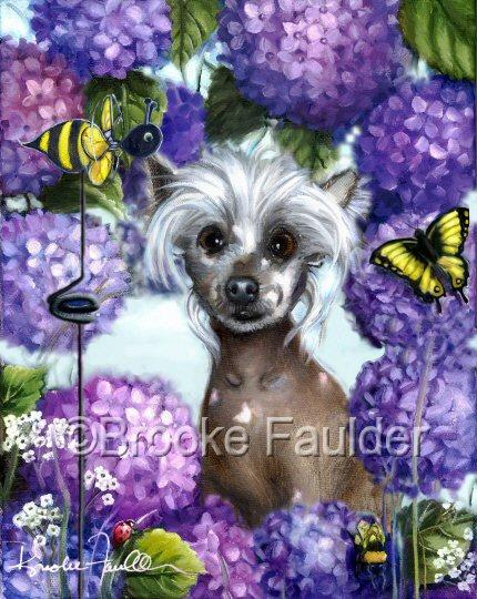 hairless Chinese Crested dog art painting in hydrangeas
