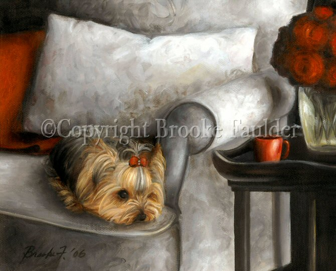 It seems like it must be a dog day afternoon and this yorkshire terrier is taking advantage by taking a nap. A vase of red roses and the red blanet pop off the gray of the arm chair as this little yorkie rests, keeping the chair warm until dad gets home.
