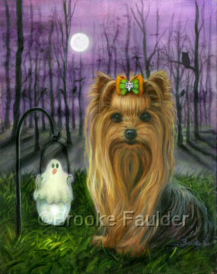 A spooky night, but this dog is not afraid. A full moon, some birds and owl silhouette are apparent in the trees behind the Yorkshire Terrier, but he seems unconcerned as he sits by the glow of the solar light in the shape of a ghost.