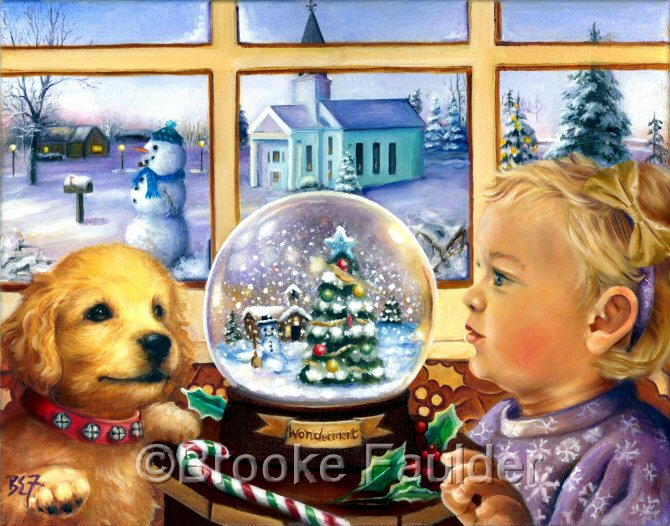 Notice that the snow globe is named wonderment and the expression on the lab puppy's face also seems to say wonderment.  Dog painting with a baby girl..