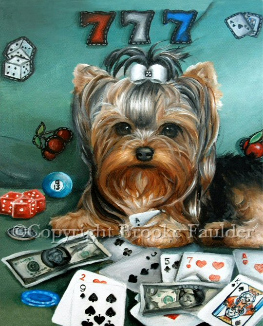 Poker anyone? This little Yorkie has an ace up his sleeve in this casino themed painting. He seems ready to take on the slot machines, a game of bingo or ever some craps in this dog picture.
