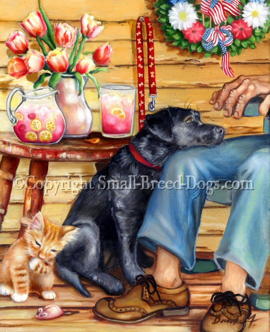 memorial day black lab painting with kitten and wreath