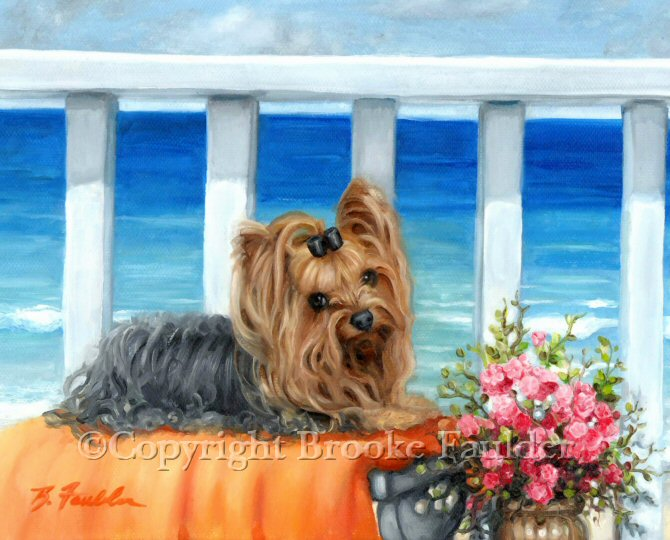 Wish You Were Here seems to be look on the face of this lonely little Yorkie. As she sits pretty on the orange towl in front of the waves rolling in from somewhere far away in the big blue and aqua ocean, the problems of the world seem like a distant memory. Mouse pads and prints were popular with this image and are still for sale. Google my name, Brooke Faulder or look for links to other dog art on the pages of this website.