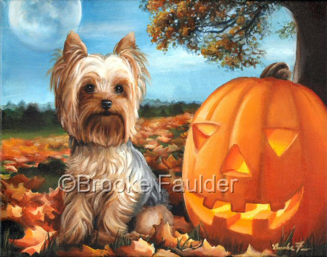 Before Twilight was painted with my late Yorkie, Petey in mind. Petey would have never held still long enough for a photo shoot, but I can always paint him into the scene of my choosing. This Yorkshire Terrier painting has a halloween theme, complete with fallen leaves and a jack-o-lantern.