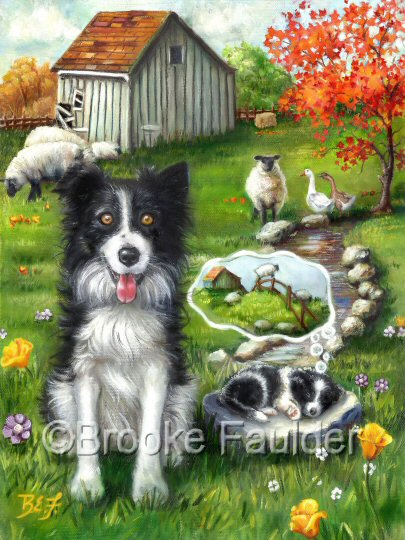 Border Collies, one watching over the flock and the puppy sleeping, dreaming of the sheep escaping. A stream runs through the pasture in front of a an old barn in this original dog painting. Look for this painting on puzzles, flags, iphone covers and more