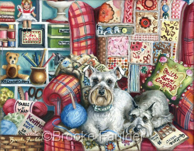 This original Schnauzer painting is being offered for sale for a limited time. I already have my own ideas about where I'd like to hang it, so once it's framed, it officially mine :) It's oil on 8x10 stretched canvas. I have more pictures available, just use the contact link if you have any questions. Features two Schnauzers keeping mom's chair warm as they sit on her newly knitten afghan. Bright colors of aqua and fuschia go together well in the original colorful dog painting.