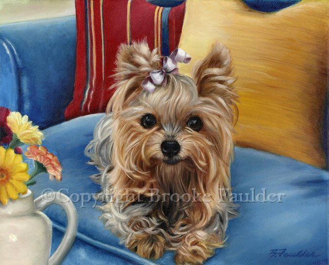 This painting centers on the yorkie and I've surrounded him with the primary colors of red, yellow and blue.