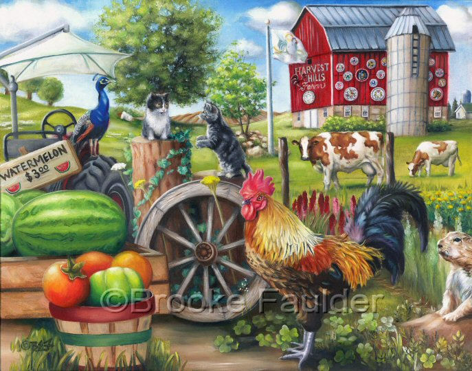 Farm LIfe is a colorful creation of roosters, kittens, Guernsey cows and even a peacock. The makeshift produce stand is selling watermellons and green and red tomatoes while Hex signs cover the barn in the background. Not an amish farm. The ground hog has also made an appearance in the country setting painting.