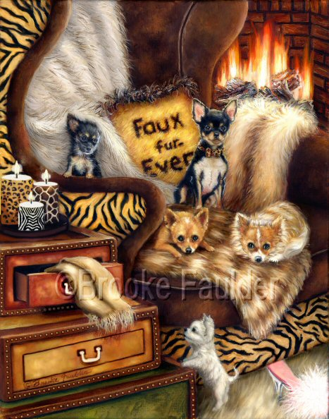 I strongly believe that no animals should be skinned alive and used only for their fur, while their de-fleshed carcasses are thrown away. This painting was created in the hopes that others will choose faux fur only... and I bet the chihuahuas in this painting agree.