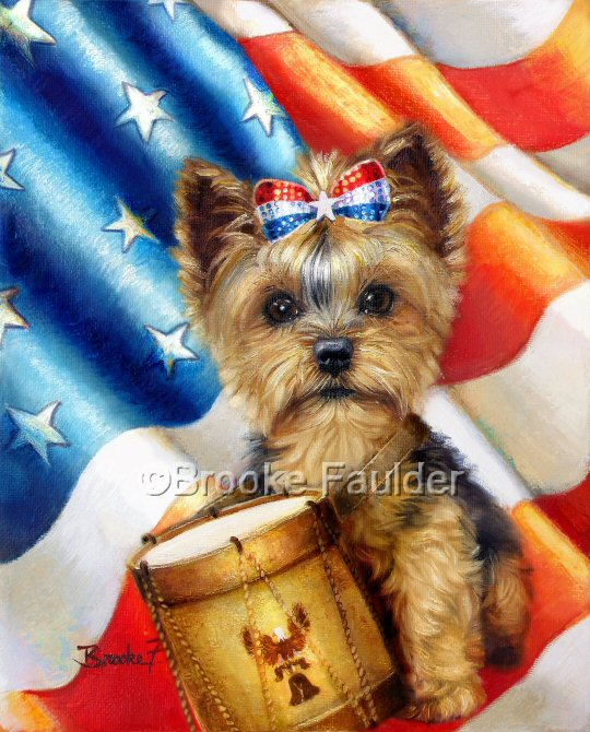 It's Independence day and this little yorkie puppy is ready to play some patriotic beats on the drum. An american flag is the backdrop and the Yorkshire terrier puppy wears a red, white and blue sequined top knot for the 4th of July celebration.