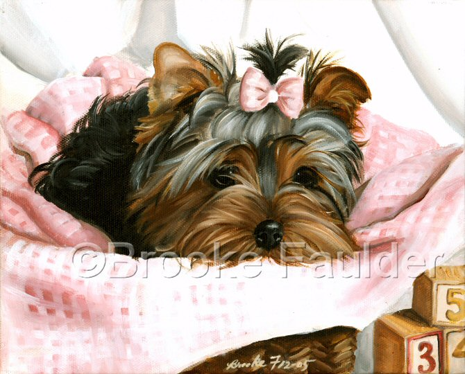 The Pink Gingham Puppy lies in a basket with a blanket that matches her top-knot bow. This Yorkie painting was licensed by Bits and Pieces puzzle company and may still be for sale through their website. Several of the paintings on the site have also been licensed for use as puzzle, art tiles, calendars, etc.