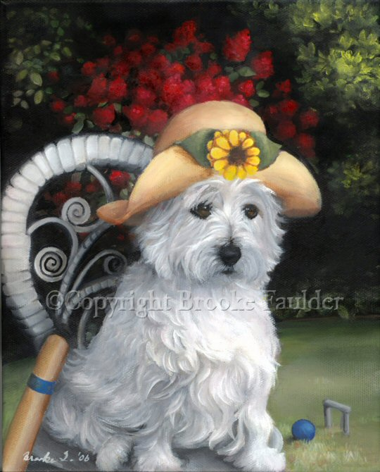 A Westie in a straw hat with a sunflower sitting on a white painted wicker chair at the West Highland garden club.