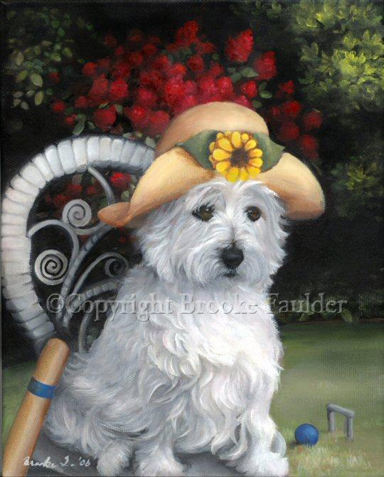 Westie acrylic painting