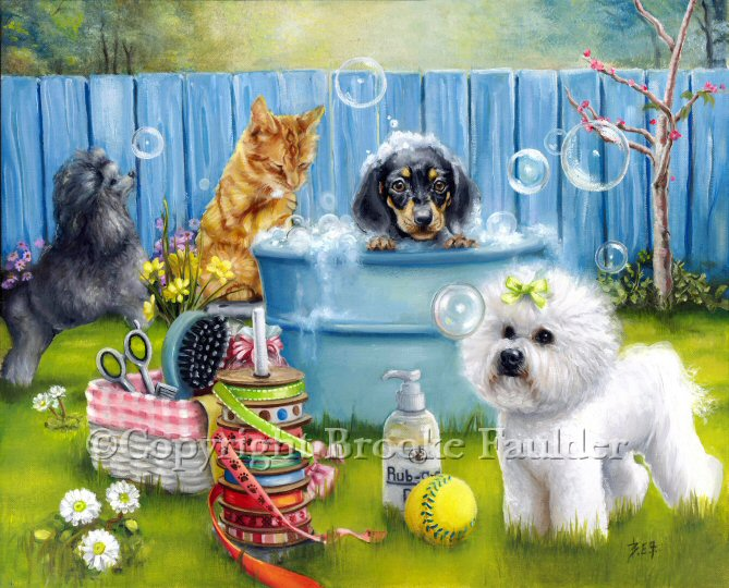 dogs oil painting grooming art with animals