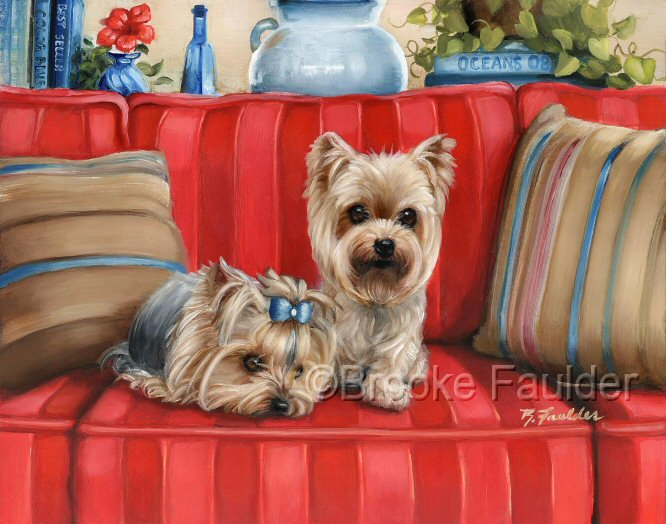 One is the loneliest number, so I gave this Yorkie a friend. They two dogs sit  on their mommies expensive red-striped sofa, one seems to be looking for some mischeif while the other is content to rest his weary head for a short nap.