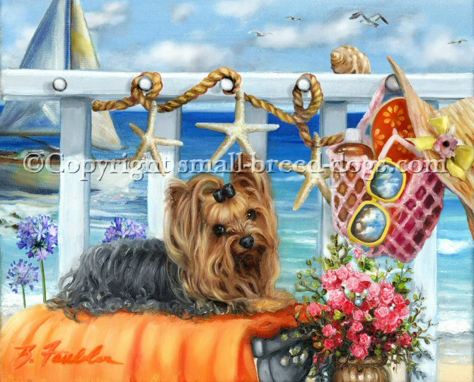 This is version two of Wish You Were Here. In version one, there was one dog, a Yorkshire Terrier in front of the aqua ocean. Version two is little more dramatic with lots of background scenery including some agapanthus flowers, a bag with lots of sun tan goodies, shades, hate and of course, flip flops. Starfish garland on rope decorates the handrail and a boat and seashells carry on the nautical theme. The dog in the painting sits on an orange painting beside some potted flowers.