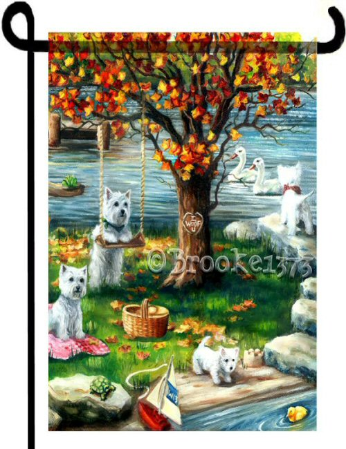 Several Westies adorn this flag with autumn scene. West highland white terrier 12x18 garden flag