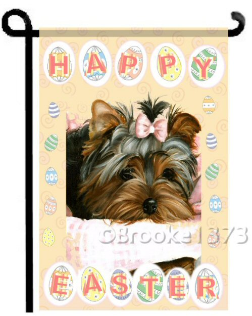Happy Easter puppy, garden flag with easter eggs and pastel Easter colors.