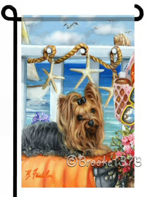 Nautical Yorkshire Terrier scene with agapanthus flowers, starfish garland and orange and aqua colors to decorate your garden or landscaping.