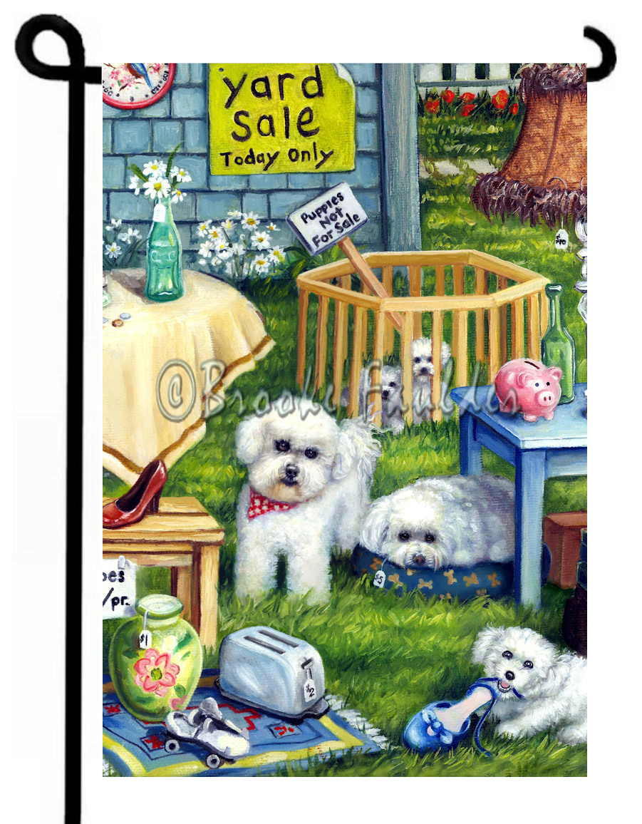 Fluffy Bichon dogs at yard sale. Puppies in playpen, sign says they are not for sale