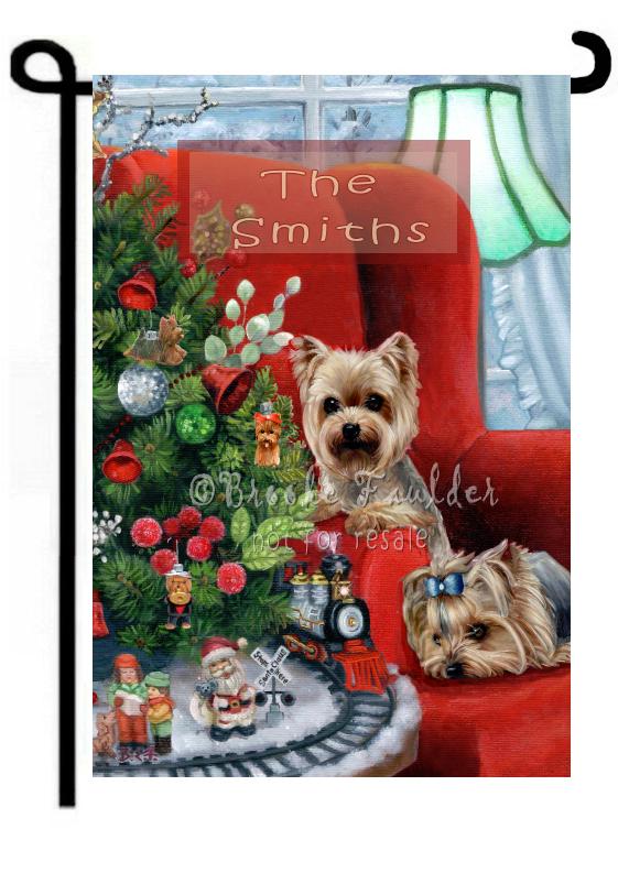 Christmas art dog garden flag