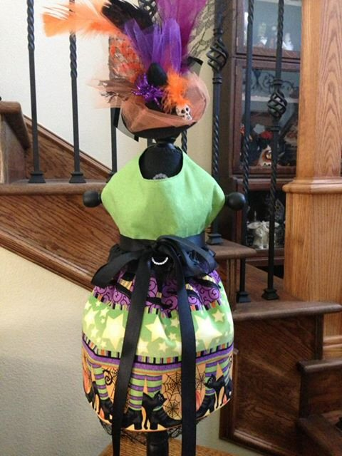 Halloween dog dress. Green, purple, black and orange. Plus a matching hat!