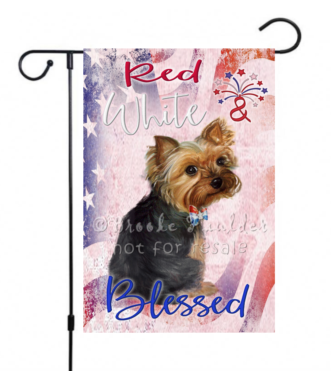 garden sized July 4th flag with Yorkshire Terrier