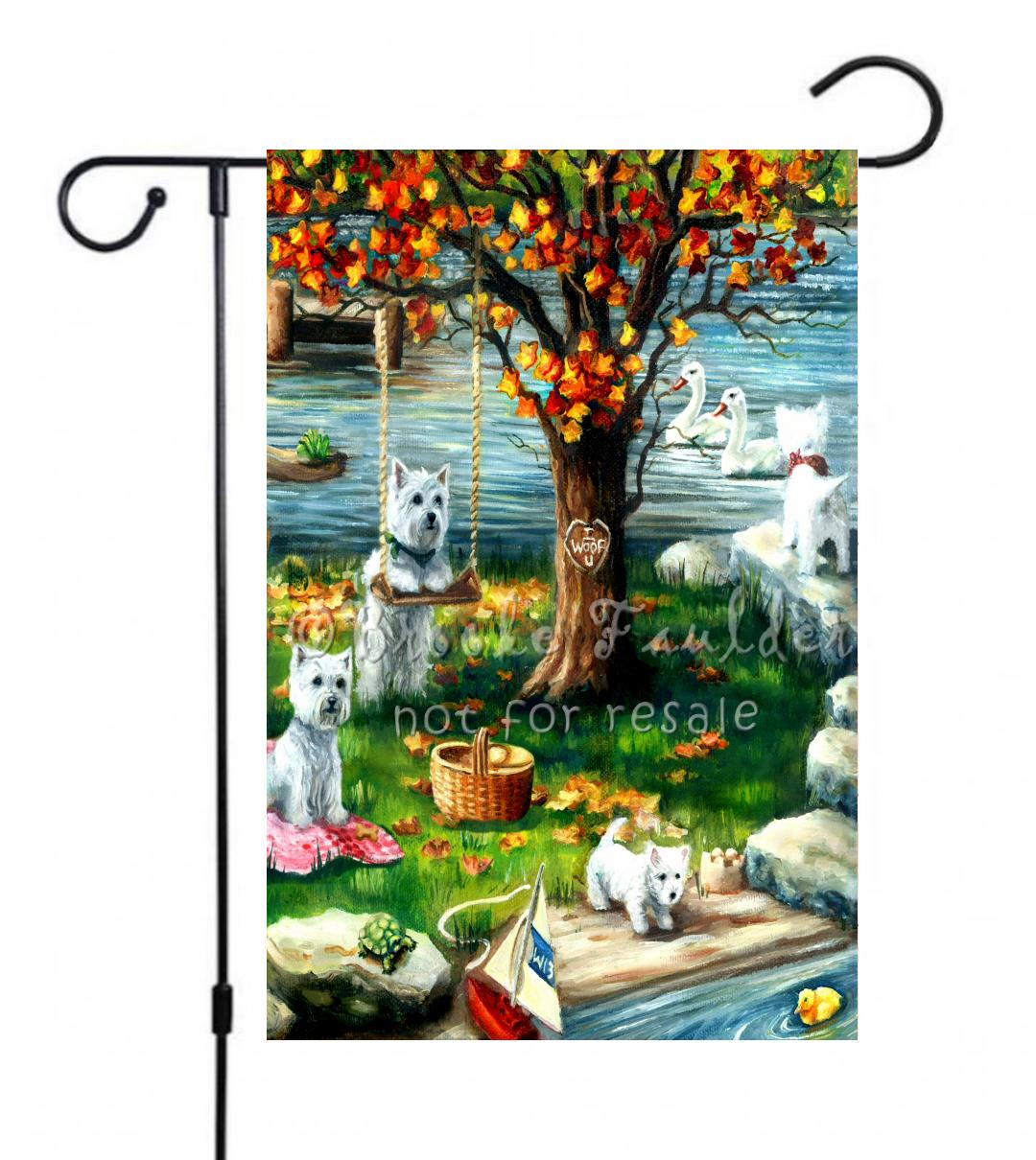 Westie art painting garden flag