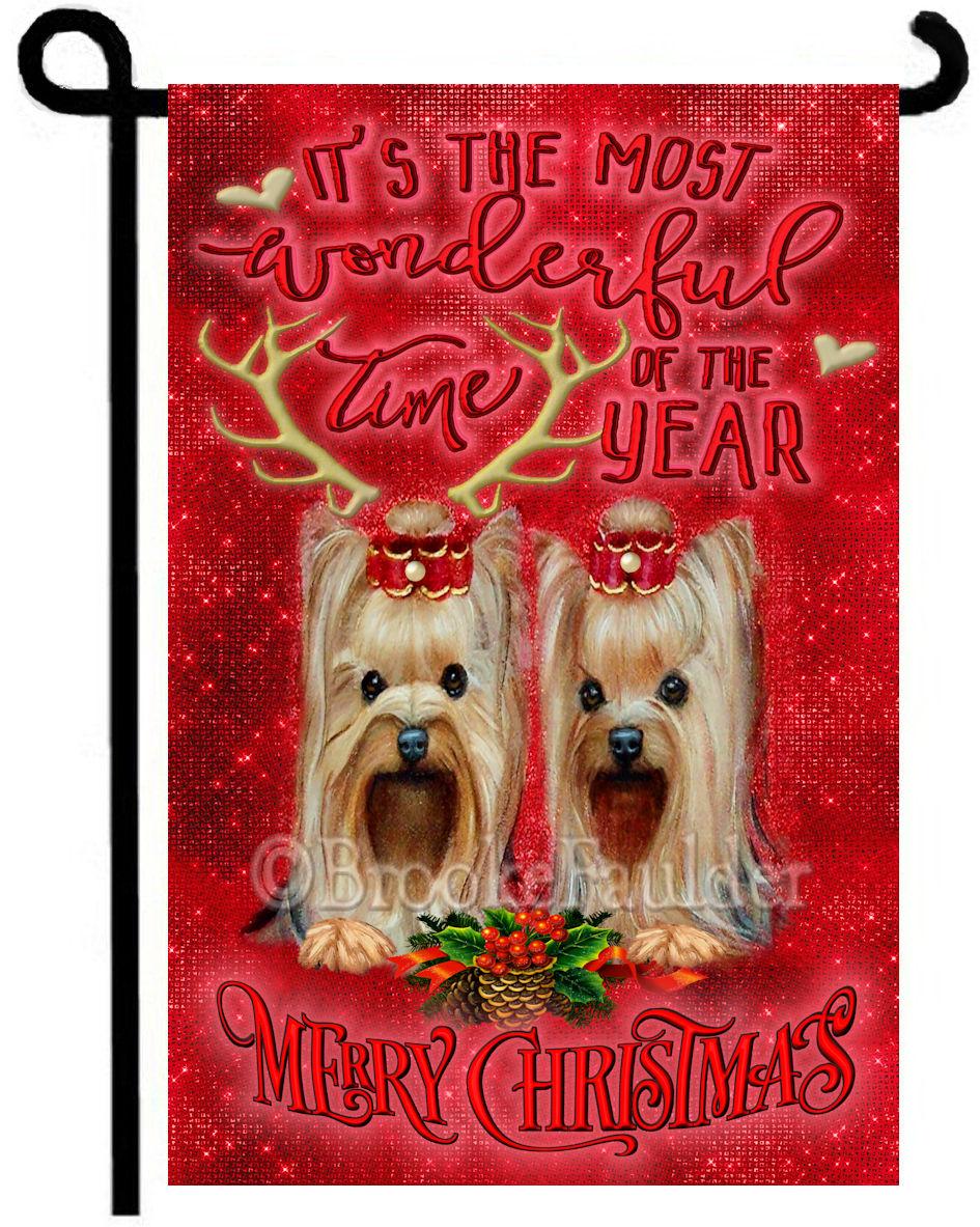 Yorkshire terrier Christmas garden flag