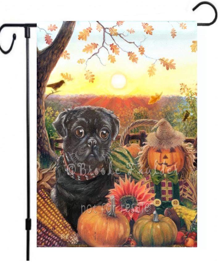 Pug painting autumn garden flag