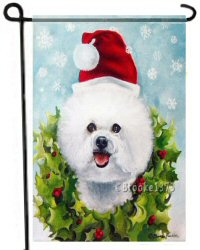Christmas, Bichon Flag, Santa hat, Bichon Frise, bichons, dog painting, garden flag, dog art, 12 x 18, Catching Snowflakes, dog lover gift
