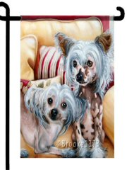 Chinese Crested, Chinese Crested, flag, Brooke faulder, Prim and Playful, hairless, dogs, hairless dogs, dog art, painting, garden flag,  12 x 18, dog lover gift