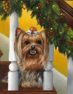 Yorkie, dog commission, painting, art note cards, Victorian Sofa
