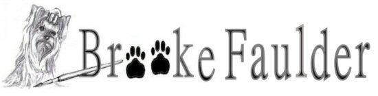 Brooke Faulder, logo, commerical artist, dog art, Yorkie art, garden flags and more!