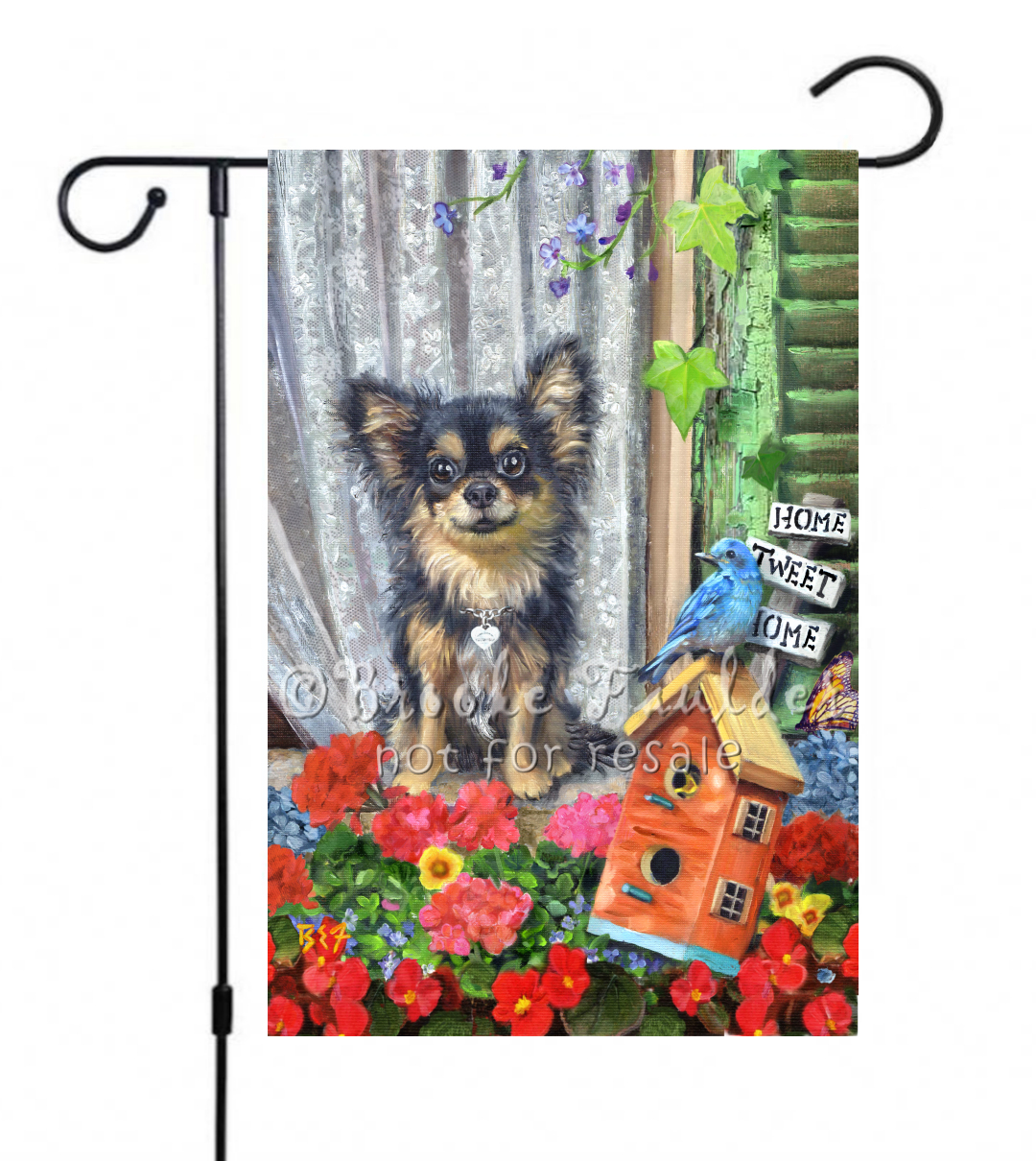 Summer garden flag with Chihuahua and bluebird